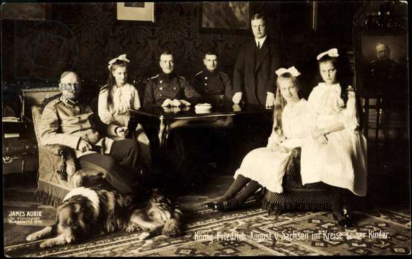 King Frederick August III of Saxony, family, dog