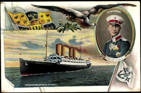 Rapid steamer Crown Prince Wilhelm, Portrait, Flag