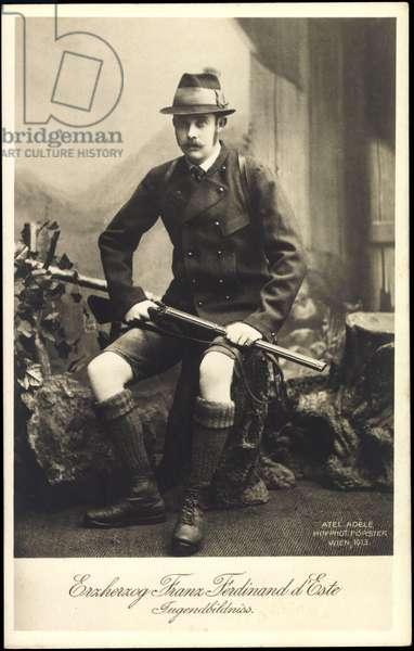 Ak Archduke Franz Ferdinand of Austria Este as hunter, youth, BKWI 888 230 (b/w photo)