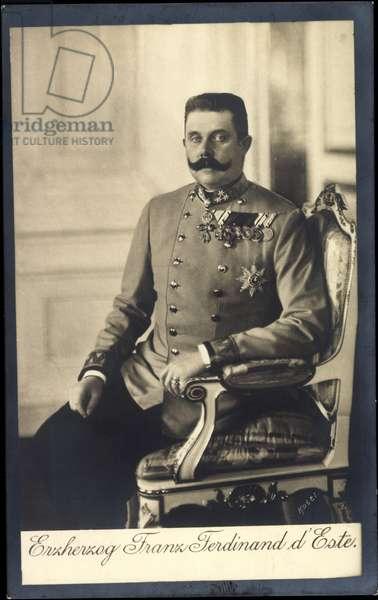 Ak Franz Ferdinand of Austria, d. 1914, death card (b/w photo)