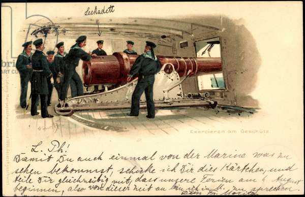 Litho Exercising on the gun, sailors, Meissner Book