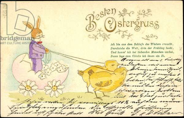 Embossing Happy Easter, Easter Bunny, Chick, Egg as a carriage
