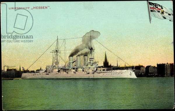 The German liner ship Hessen in port, flag
