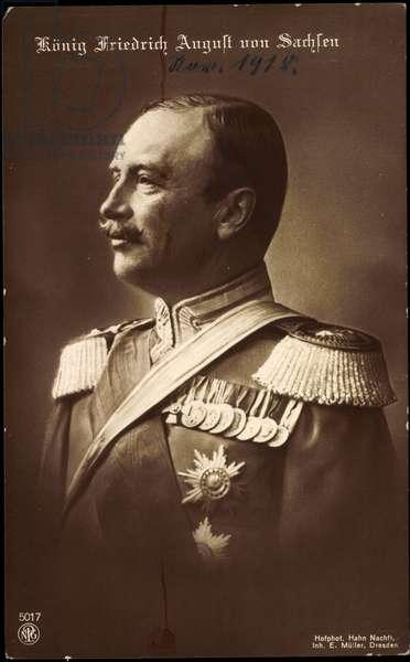 Ak König Frederick August III of Saxony, Uniform, Order, NPG 5017 (b/w photo)