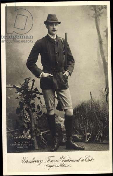 Ak Archduke Franz Ferdinand of Austria Este as a hunter, youth, BKWI 888 226 (b/w photo)