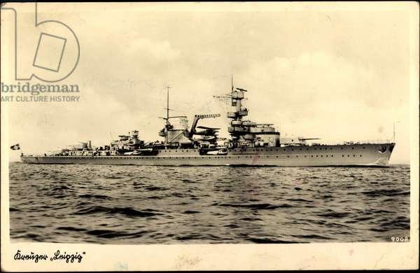 German warship, cruiser Leipzig in motion