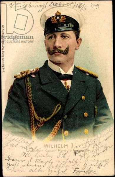 Litho Kaiser Wilhelm II v Prussia, visor cap