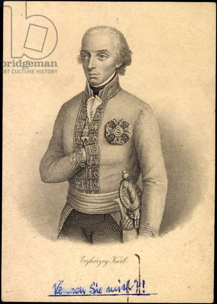 Archduke Charles with his hand under the jacket, engraving