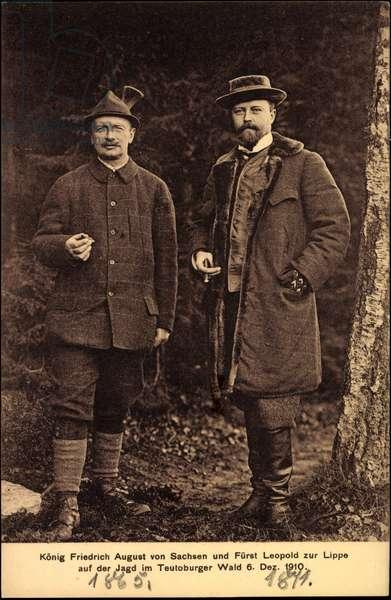 Ak König Friedrich August III v Sachsen, Fürst Leopold zur Lippe, 1910 (b/w photo)
