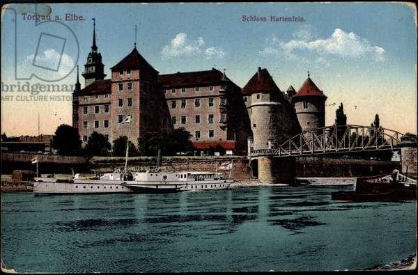 Torgau Elbe, Hartenfels Castle, bridge, ships