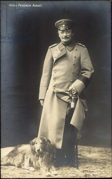Ak King Frederick August III of Saxony with a Collie, sabre (b/w photo)