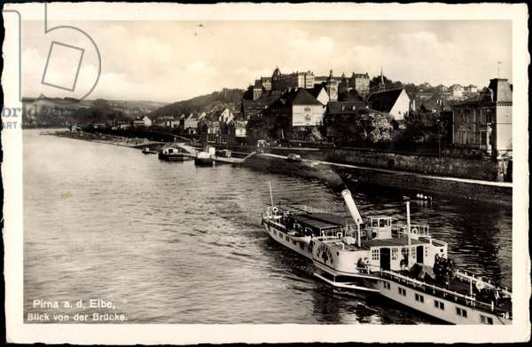 Pirna, view from the bridge, steamer Lössnitz