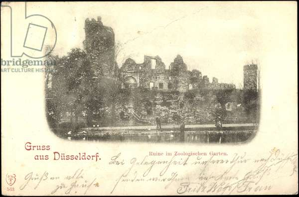 Düsseldorf, view to the ruin in in the Zoological Garden