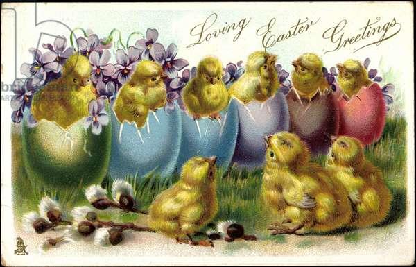 Embossing Litho Happy Easter, Chick, Easter Egg Bowl, Tuck