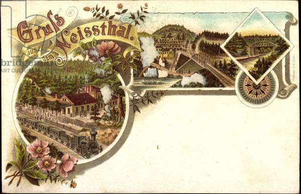 Litho Neissthal in Silesia, railway and bridge