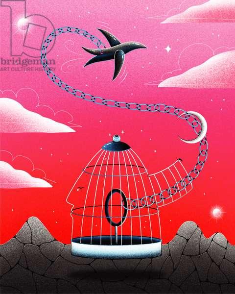 Wondering about freedom, 2020 (digital illustration)