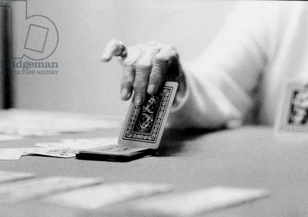 Card Player, Italy, 2007, photo black and white, by Carola Guaineri