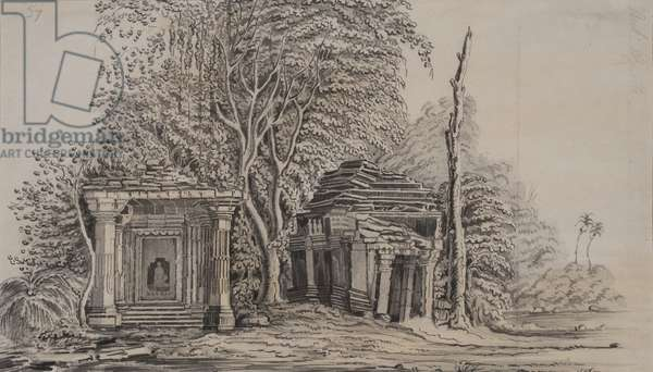 Temples of Gunga Bheou, 1820 (pencil & wash on paper)