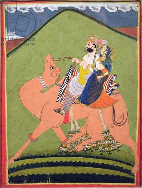 Portrait of Salim Singh of Pokaran, riding on a camel with his rani, Jodhpur, c.1810-20 (gouache on paper)