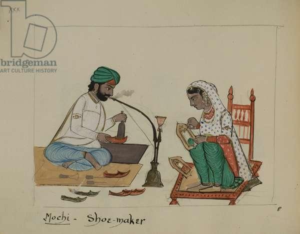 A shoe maker, 1890 (pencil, w/c, pen & ink on paper)