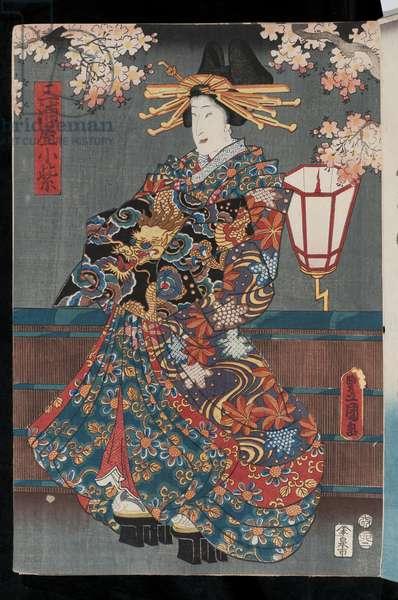 Kabuki courtesan, 1855 (coloured woodblock print)