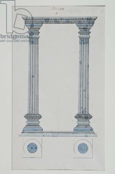 A portico, 1824 (pen & ink with blue wash on paper)