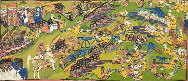 The Battle of Adwa, 1925 (gouache on cloth)