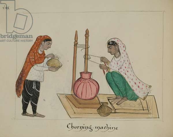 Two women with a churning machine, 1890 (pencil, w/c, pen & ink on paper)