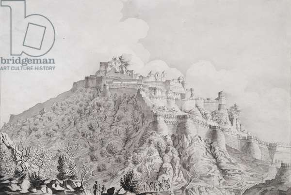 Citadel of the hill fortress of Komulmer, 1820 (pencil & wash on paper)