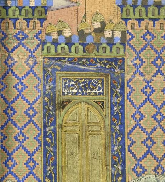 Persian 239 fol.278a Detail: Isfandiyār slays Arjāsp in the Brazen Hold, illustration from the 'Shahnama' (Book of Kings), by Abu'l-Qasim Mansur Firdawsi (c.934-c.1020), 1444 (gouache on paper)