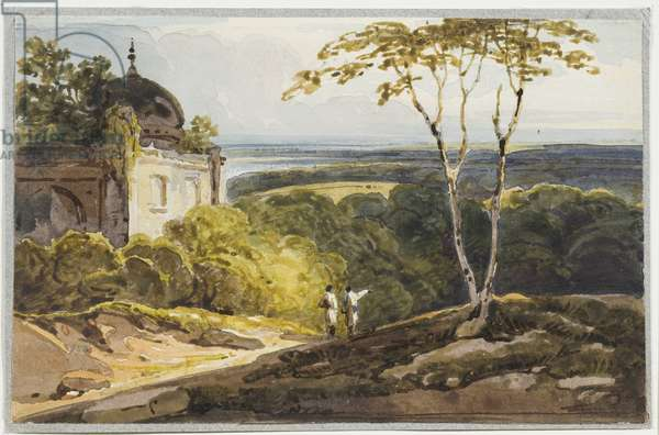 Landscape view with Muslim domed tomb, 1819 (w/c on paper)