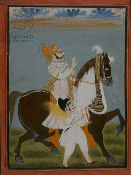 Rawat Bhim Singh of Salumbar riding Nur, 1820 (gouache on paper)