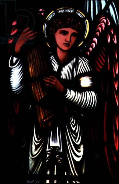Angels of Paradise: musical angel by Sir Edward Burne-Jones (1833-98), 1897 (stained glass)