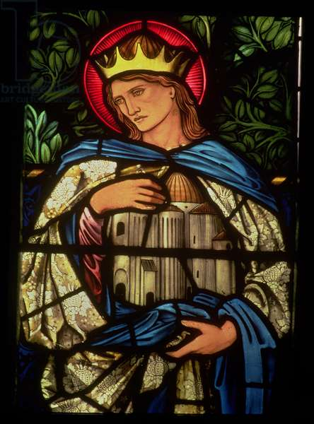 King Solomon holding the temple, 1890 (stained glass)