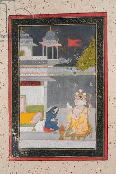 Khambhavati Ragini, c.1790 (gouache on paper, gold embellishment)