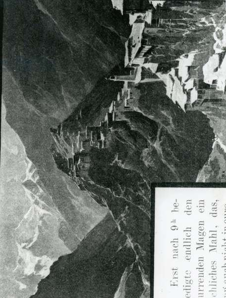 Part of the village of Tindi and a view into the Akmada Valley, c.1900-30 (etching)