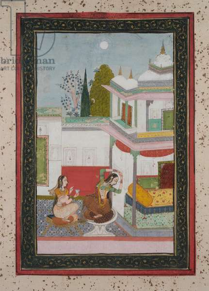 Purvi Ragini, c.1790 (gouache on paper, gold embellishment)