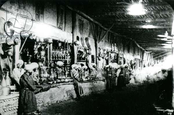 Bazaar at Bokhara, Uzbekistan, 1895 (b/w photo)