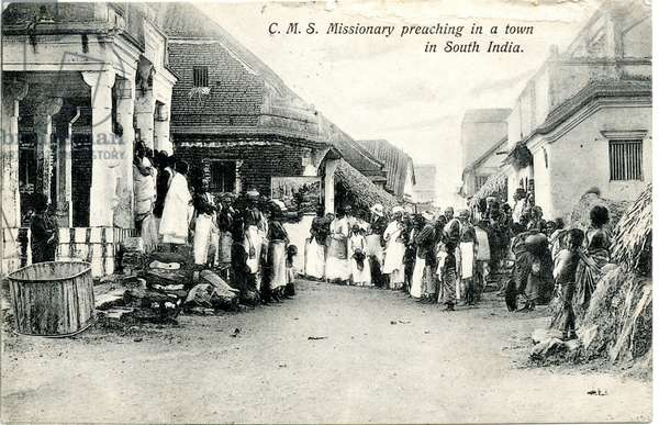 c.M.S. Missionary preaching in a town in South India, c.1900-20 (b/w photo)