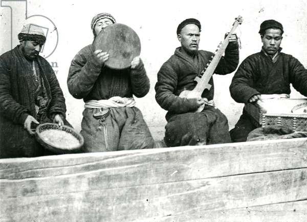 Four Uyghur musicians , c.1940 (b/w photo)