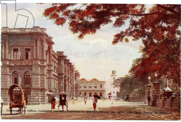 General Post Office, Colombo (on left), entrance of Queen's House (on right), and Clock Tower (in distance), c.1900-20 (hand-coloured photograph)