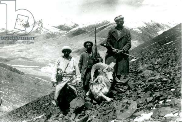 Hunters with ovis poli, 1943 (b/w photo)