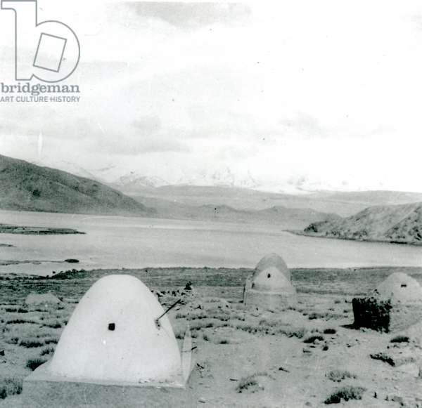 Tombs on shore of Lake Karakul, 1920s/1930s (b/w photo)