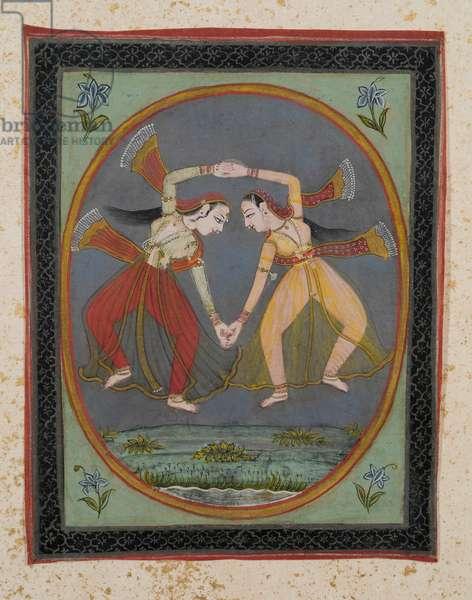 Dancing girls (gouache on paper, gold embellishment)