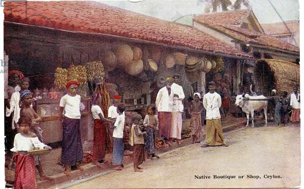 Native Boutique or Shop, Ceylon, c.1900-20 (hand-coloured photograph)
