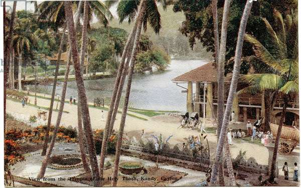 View from the Temple of the Holy Tooth, Kandy, Ceylon, c.1900-20 (hand-coloured photograph)