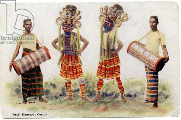 Devil Dancers, Ceylon, c.1900-20 (hand-coloured photograph)