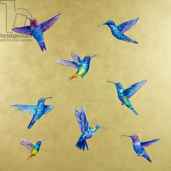 Hummingbirds on Gold