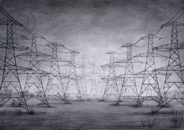 Pylons at Thames Estuary, 2015, charcoal on paper, (detail from the hand drawn animation The Masque of Blackness)