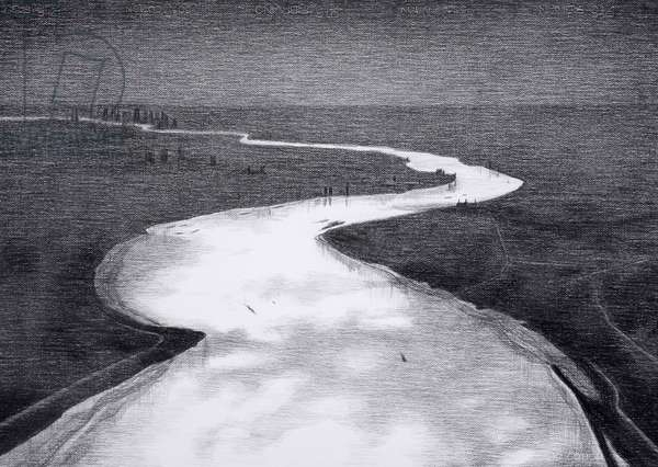 Thames Estuary Aerial View, 2016, charcoal on paper, (detail from hand drawn animation The Masque of Blackness)